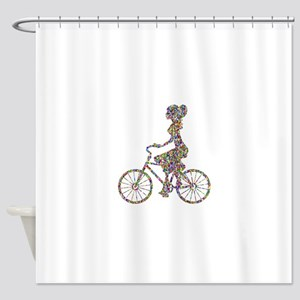 Chromatic Rainbow Woman Bicycling Shower Curtain
