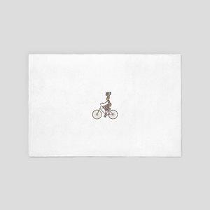 Chromatic Rainbow Woman Bicycling 4' x 6' Rug