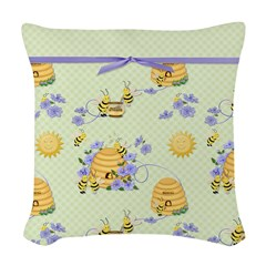 Bee Dance Floral Woven Throw Pillow
