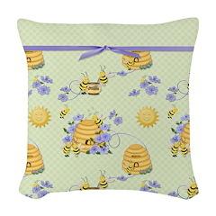 Bee Dance Floral Woven Throw Pillow