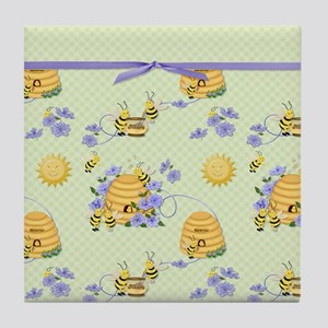 Bee Dance Floral Tile Coaster