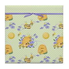 Bee Dance Floral Tile Coaster