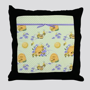 Bee Dance Floral Throw Pillow