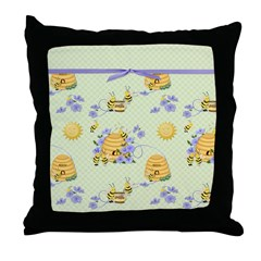 Bee Dance Floral Throw Pillow