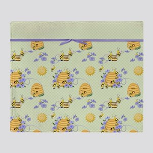 Bee Dance Floral Throw Blanket