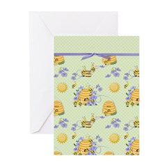 Bee Dance Floral Greeting Cards