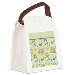 Bee Dance Floral Canvas Lunch Bag