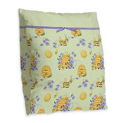 Bee Dance Floral Burlap Throw Pillow