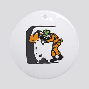 COAL MINER WORKING Round Ornament