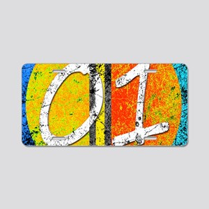 Number One Orange Yellow Bl Aluminum License Plate
