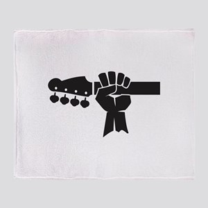 HAND ON BASS GUITAR Throw Blanket