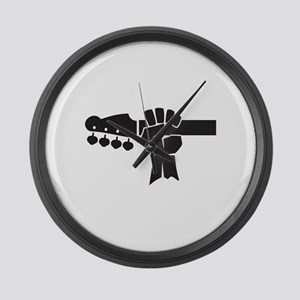 HAND ON BASS GUITAR Large Wall Clock