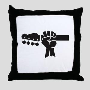 HAND ON BASS GUITAR Throw Pillow