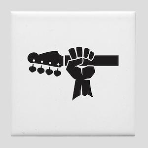 HAND ON BASS GUITAR Tile Coaster