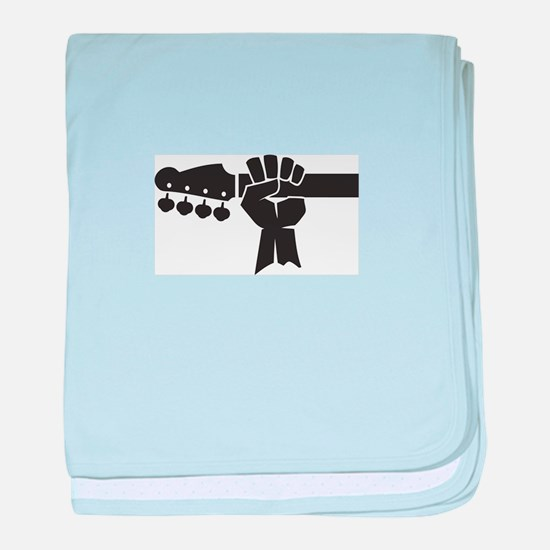 HAND ON BASS GUITAR baby blanket