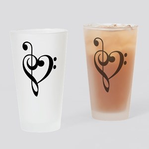 Treble Clef Bass Clef Heart Drinking Glass