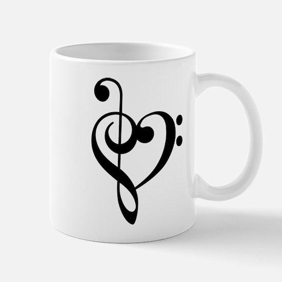 Treble Clef Bass Clef Heart Mugs