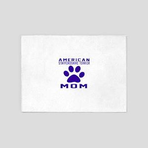 American Staffordshire Terrier mom 5'x7'Area Rug