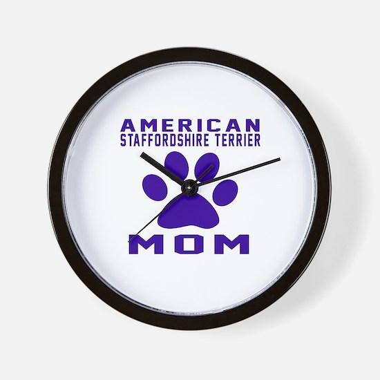 American Staffordshire Terrier mom desi Wall Clock
