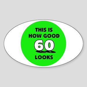 60th Birthday - Happy Birthda Oval Sticker
