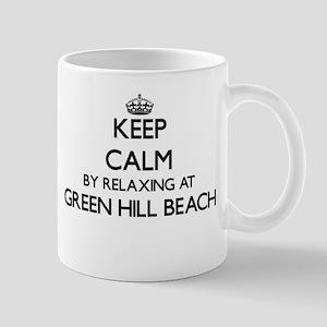 Keep calm by relaxing at Green Hill Beach Rho Mugs