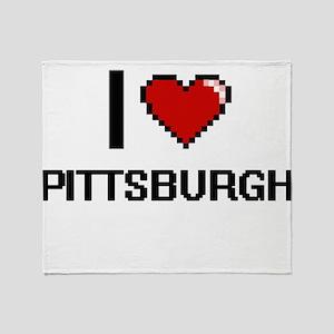 I love Pittsburgh Digital Design Throw Blanket
