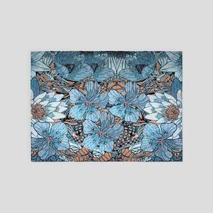 Blue Hibiscus Flowers 5'x7'Area Rug