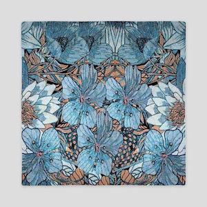 Blue Hibiscus Flowers Queen Duvet