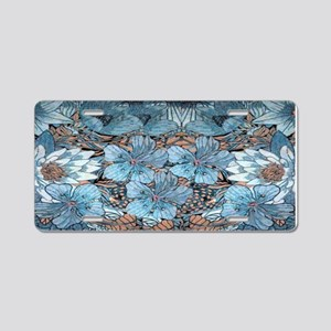 Blue Hibiscus Flowers Aluminum License Plate