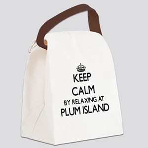 Keep calm by relaxing at Plum Isl Canvas Lunch Bag