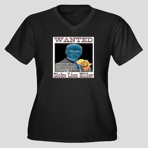 WANTED SICKO Women's Plus Size V-Neck Dark T-Shirt