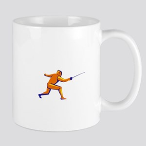 Fencing Thrust Side View Retro Mugs