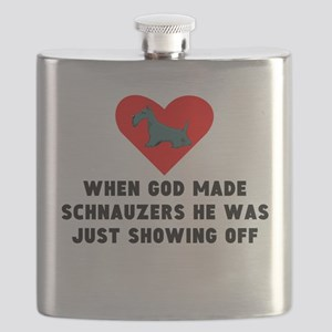 When God Made Schnauzers Flask