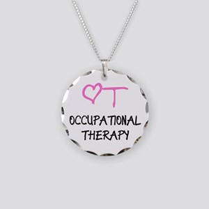 OT Heart Occupational Therap Necklace Circle Charm