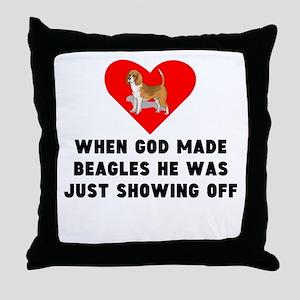 When God Made Beagles Throw Pillow