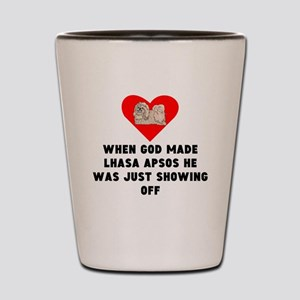 When God Made Lhasa Apsos Shot Glass