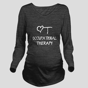 OT-HEART-onblack3.pn Long Sleeve Maternity T-Shirt