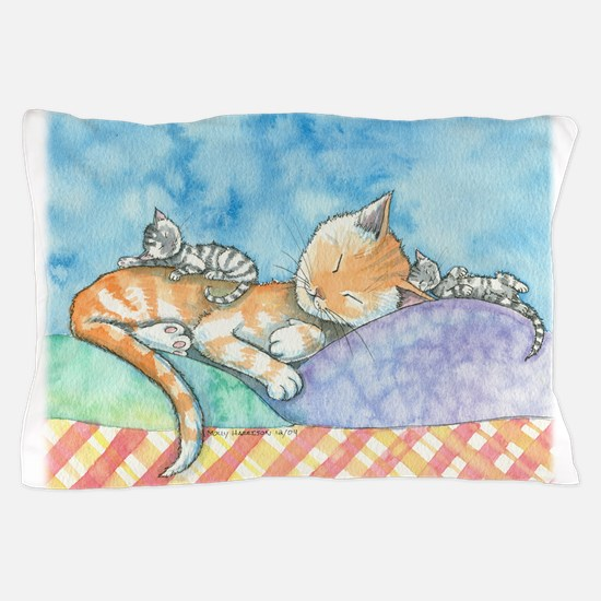 Mama and the Twins Tabby Cat and Kitte Pillow Case