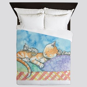 Mama and the Twins Tabby Cat and Kitte Queen Duvet