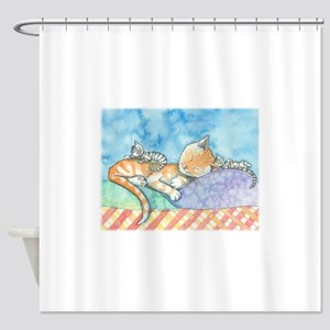 Mama and the Twins Tabby Cat and Ki Shower Curtain