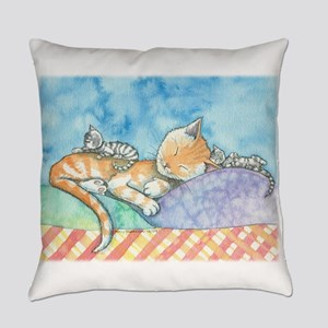 Mama and the Twins Tabby Cat and K Everyday Pillow