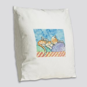 Mama and the Twins Tabby Cat a Burlap Throw Pillow