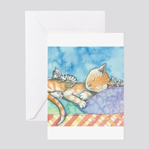 Mama and the Twins Tabby Cat and Ki Greeting Cards