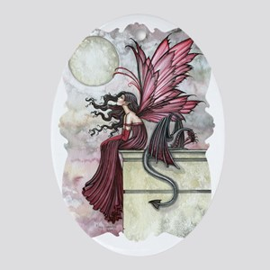 Restless Ruby Fairy and Dragon Fanta Oval Ornament