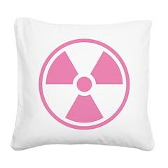 Pink Radioactive Symbol Square Canvas Pillow