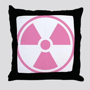 Pink Radioactive Symbol Throw Pillow