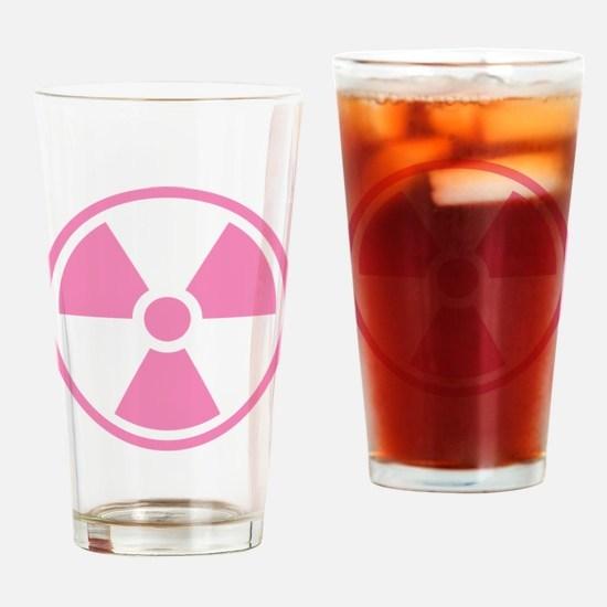 Pink Radioactive Symbol Drinking Glass