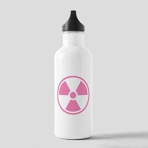Pink Radioactive Symbol Water Bottle