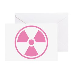 Pink Radioactive Symbol Greeting Cards