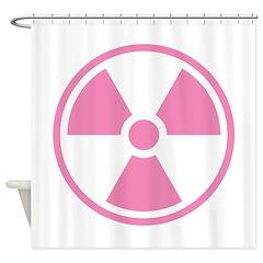 Pink Radioactive Symbol Shower Curtain